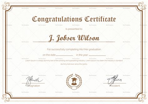 congratulations certificate word template graduation completion congratulations certificate design template in psd word