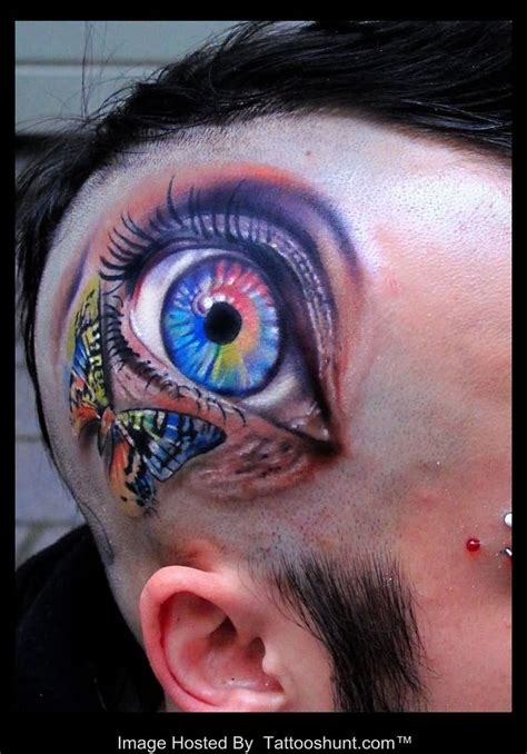 eyeball tattoo on back of head colorful butterfly and 3d eye tattoo on head tattooshunt com