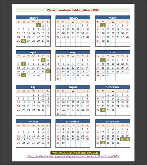Western Calendar Western Australia Australia Holidays 2015
