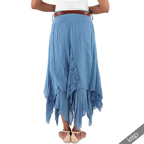 womens simple cotton skirt hippie boho