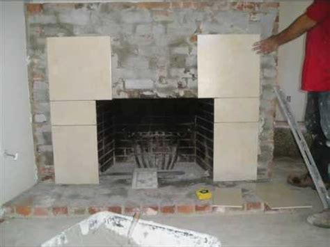 fireplace refacing from brick to tile