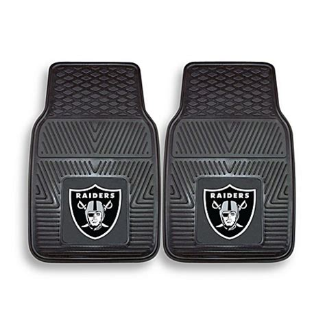 oakland raiders bathroom set buy nfl oakland raiders vinyl car mats set of 2 from bed bath beyond