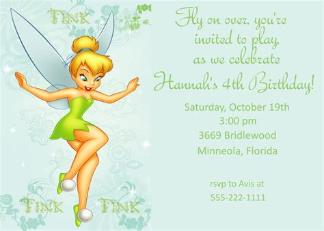 tinkerbell birthday card template birthday invitation templates tinkerbell birthday