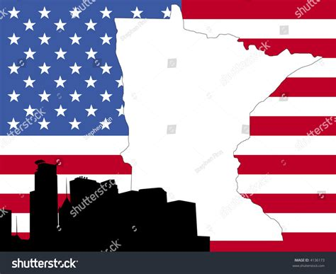 Of Minnesota Search Map Of Minnesota On American Flag With Minneapolis Skyline
