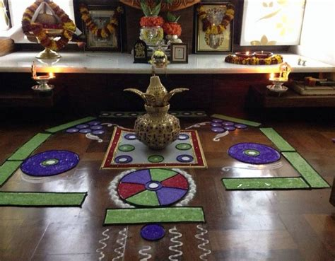 pooja room designs and decor for gudi padwa rangoli