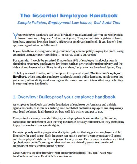 10 Employee Handbook Sle Templates Sle Templates Employee And Policy Template
