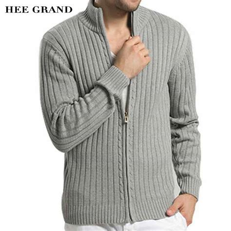 Sweater Rajut Grand Wish hee grand casual style sweater stand collar whole cotton material slim fitted autumn zipper