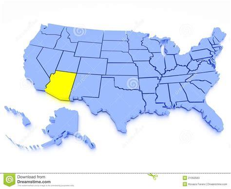 united states map arizona 3d map of united states state arizona stock photos