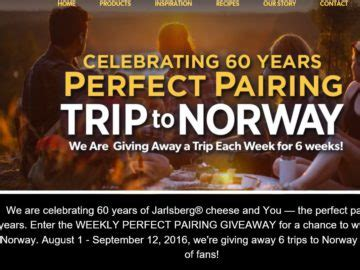 Consumer Sweepstakes - jarlsberg cheese 60th anniversary consumer sweepstakes