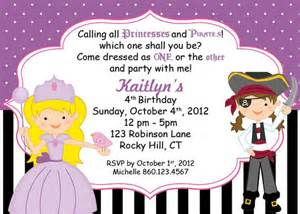 custom princess and pirate theme invitation i create you print shorelinedesignz