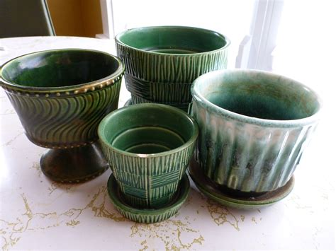 mccoy pottery planters vintage mccoy pottery green planters the new collector