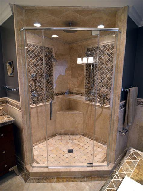 travertine walk  shower design ideas remodel