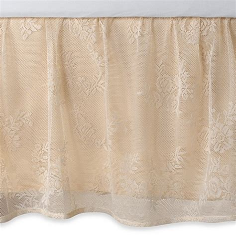 lace bed skirt ivory ruffled lace full bed skirt bed bath beyond