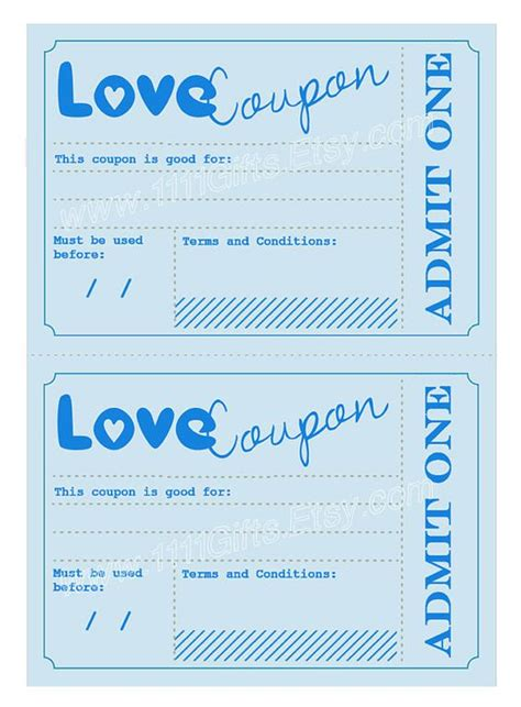 printable love coupons for birthday printable love coupons romantic gift idea for him