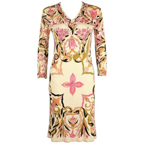 Emilio Pucci Girly Silk Dress by Emilio Pucci 1960s Pink Multicolor Kaleidoscope Floral