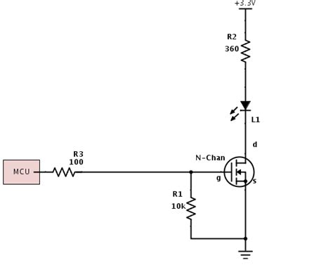 choosing mosfet gate resistor microcontroller n channel mosfet and voltage drop electrical engineering stack exchange