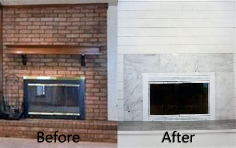 brick fireplace makeover easy diy shiplap fireplace