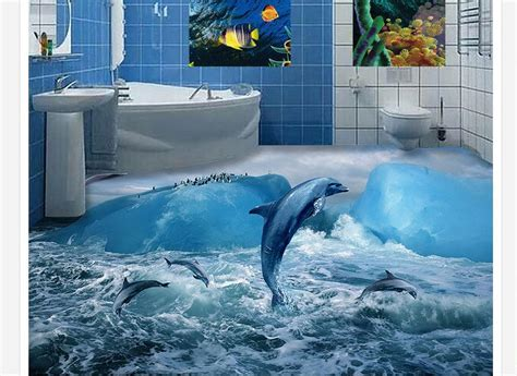 Dolphin Wallpaper For Bathroom by 3d Pvc Floor Wallpaper Custom Mural Floor Painting Glacier