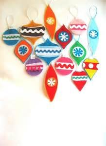 Christmas tree ornaments retro style made from eco friendly felt