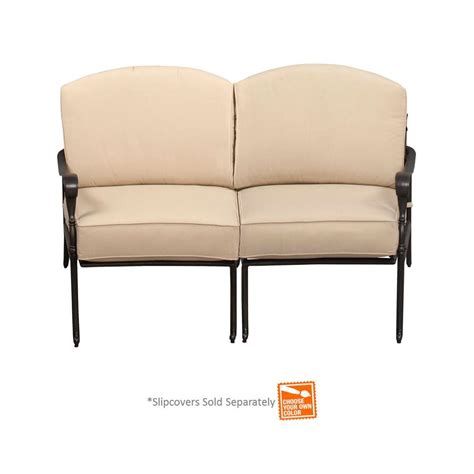 patio furniture slipcovers hton bay edington curved patio loveseat sectional with