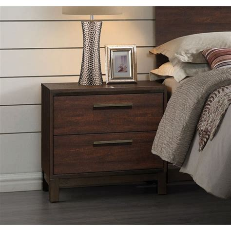 coaster lancashire two drawer nightstand with built in coaster edmonton 2 drawer nightstand in rustic tobacco and