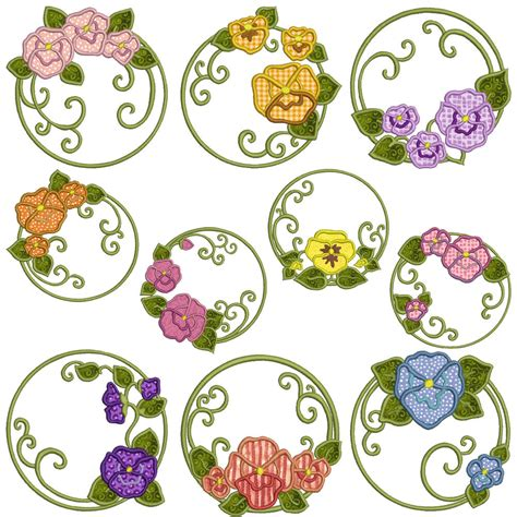 machine embroidery designs applique pansies machine applique embroidery patterns 10