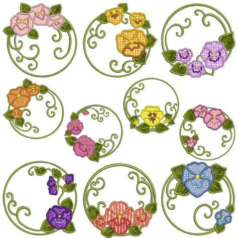 machine applique designs pansies machine applique embroidery patterns 10