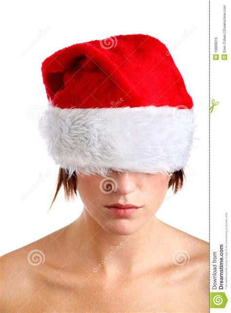 woman wearing santa hat royalty free stock image image