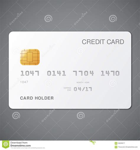 and white card template white credit card stock vector image 59028577