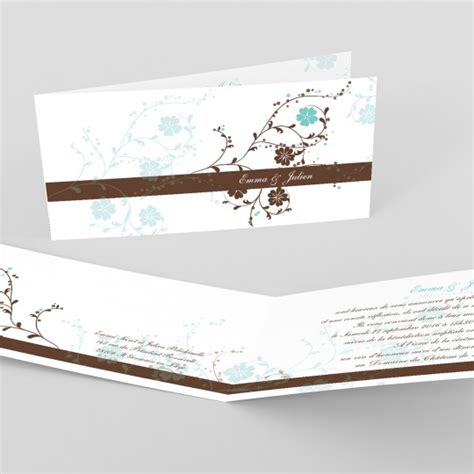 Nuptial Marriage by Faire Part Mariage Nuptial Chocolat Turquoise Mariage