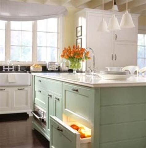 light green kitchen white cabinets