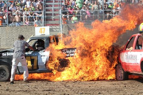 la county fair truck referee pulls from burning truck at demo derby local