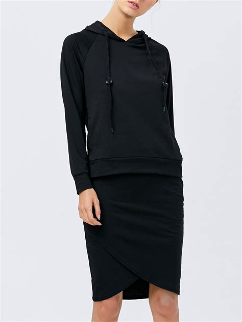 two dresses black hoodie with pencil skirt gamiss