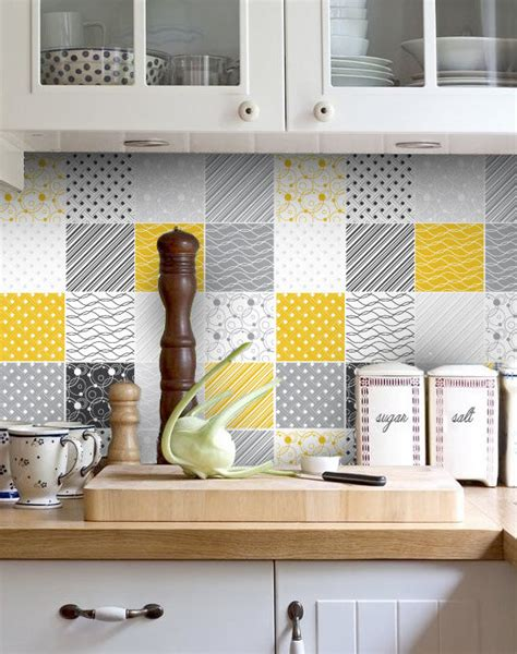 Kitchen Backsplash Stickers by Backsplash Decal Vinyl Backsplash Yellow Gray Tiles
