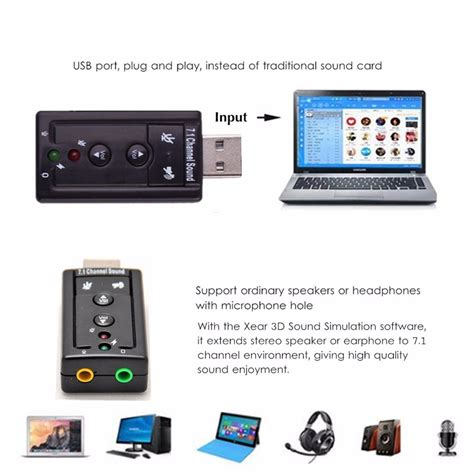 Usb Sound Adapter Usb Sound Card Portabel T1910 5 portable usb 2 0 external 7 1 channel 3d audio sound card adapter pc ebay