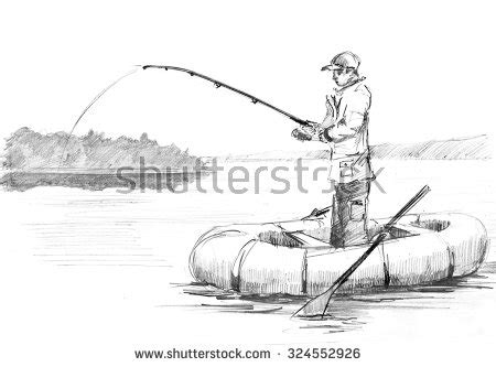how to draw a chinese junk boat pencil drawing fisherman rod fishing on stock illustration