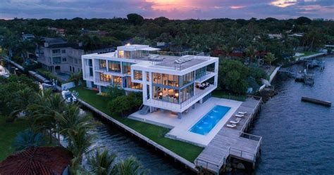 22 million modern waterfront mansion in miami florida