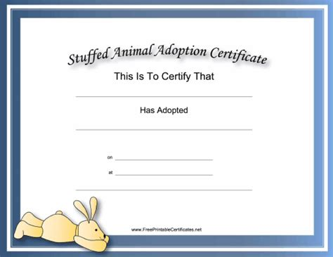 rabbit birth certificate template this free printable stuffed animal adoption certificate