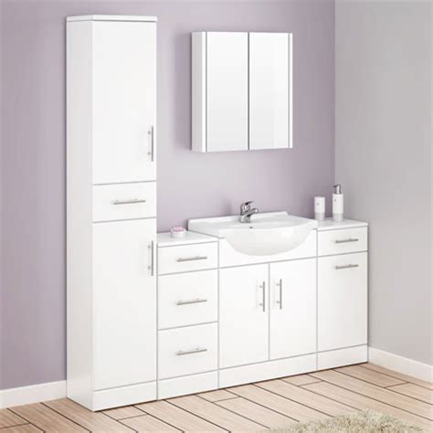 Alaska Bathroom Furniture Pack 5 Piece White Gloss At Gloss White Bathroom Furniture