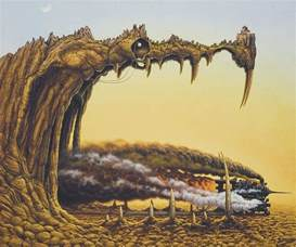 a brilliant surrealism painting by jacek yerka of a steam