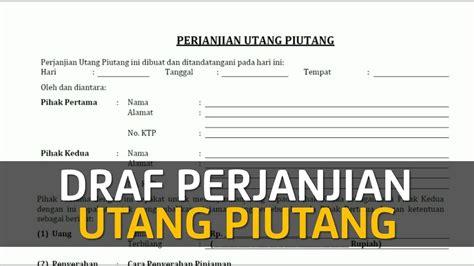 Perjanjian Utang Piutang By Gatot Supramono draf perjanjian utang piutang