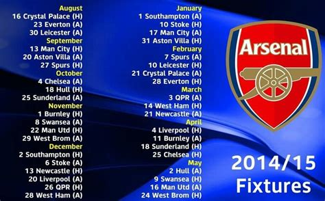 arsenal result today arsenal 2014 15 fixtures in ist indian standard time