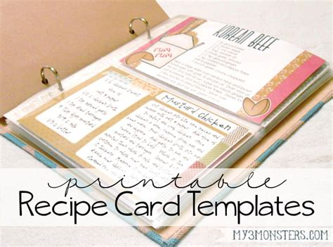 Can I Find A Customizable Recipe Card Template by My 3 Monsters Printable Recipe Card Templates