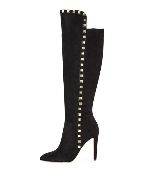 neiman boots neiman mira studded suede boot in black lyst