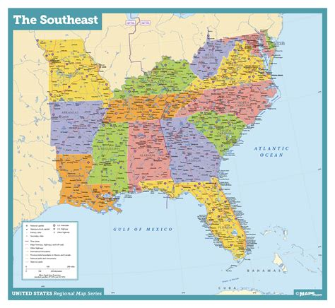 map of southeastern united states with cities southeast usa wall map maps