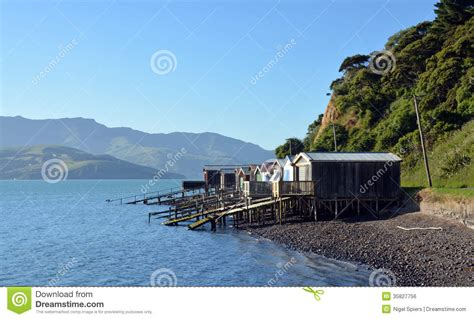 house boats nz boat houses on akaroa harbour new zealand royalty free