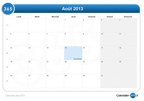 I Calendrier 2013 Calendrier August 2013