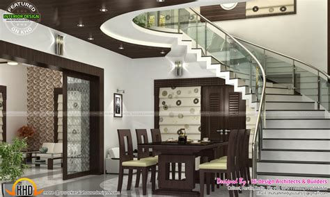 kerala home design staircase sitting bedroom and dining interiors kerala home design