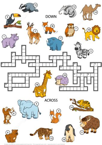 printable crossword puzzle animals animals crossword puzzle for studying english vocabulary
