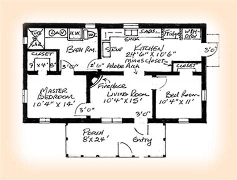 south texas house plans 2 bedroom adobe house plans adobe house plan 1248